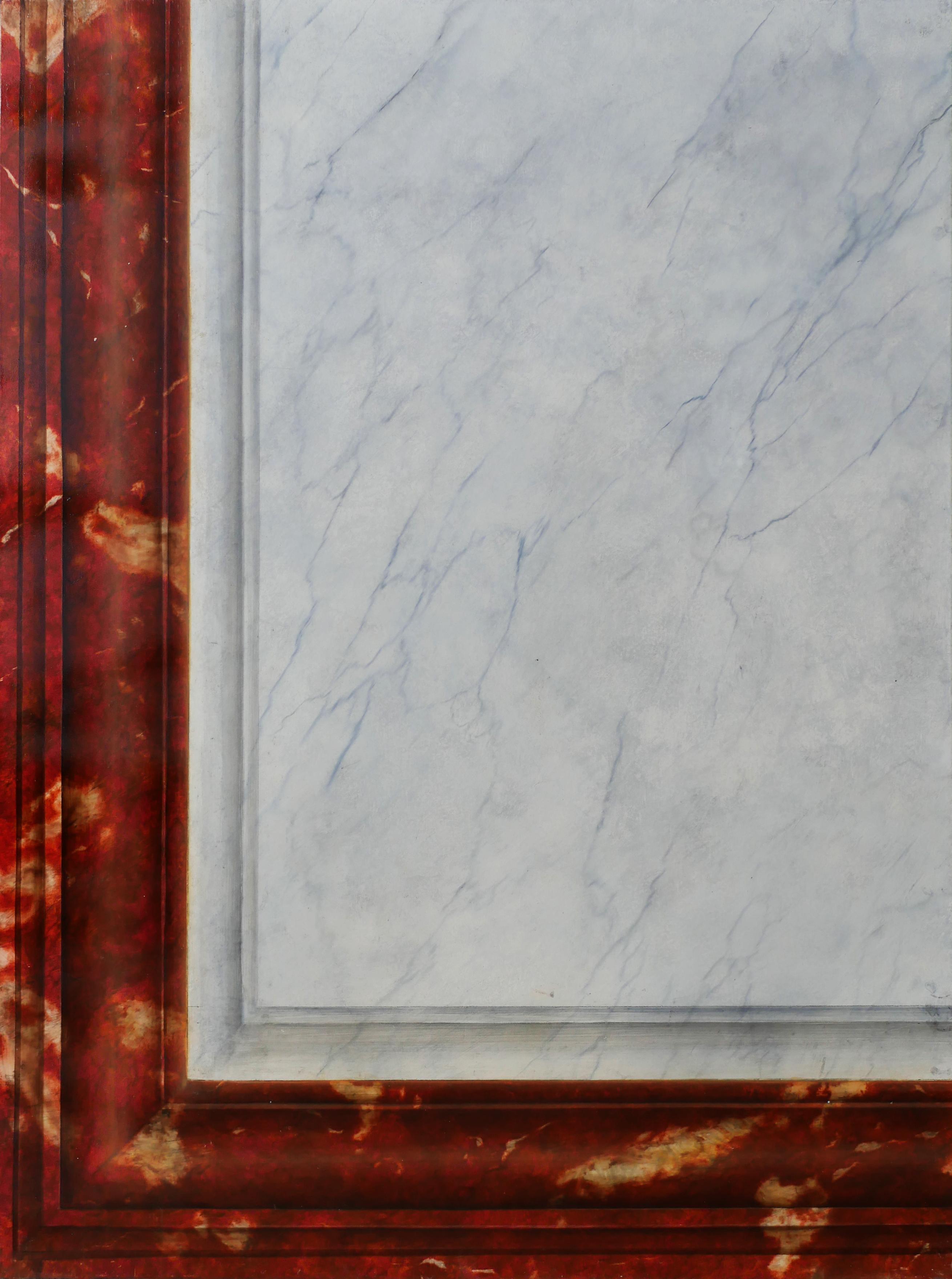 Décor imitation marbre rouge Languedoc et blanc veiné, faux marbre, effet de matière. Assilem décors, peintre en décor Bordeaux, décoration intérieure, peinture décorative