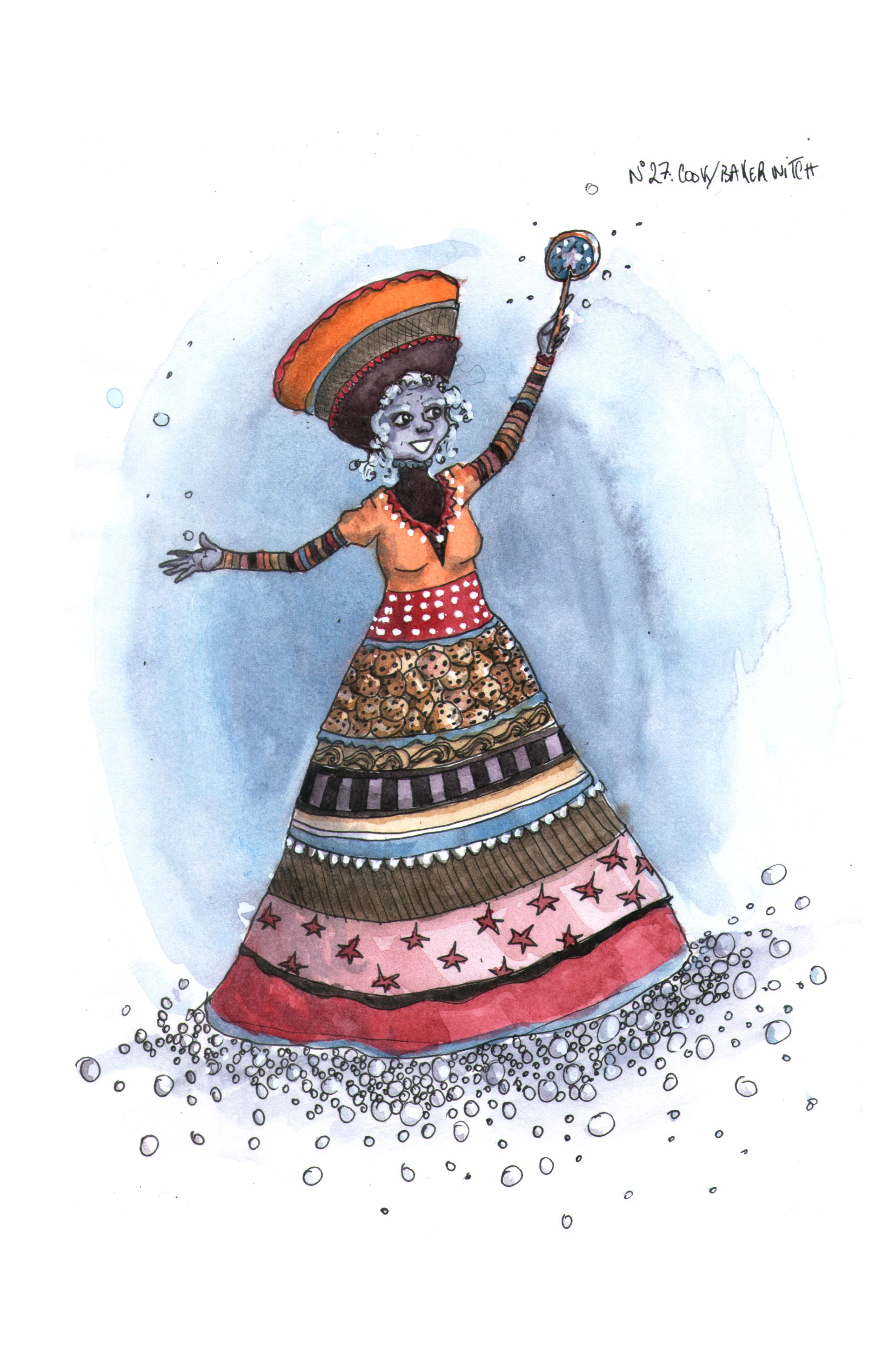 Illustration inktober des Sorcières : Cook Baker witch, encres, Assilem décors, peintre en décor Bordeaux, décoration intérieure, peinture décorative