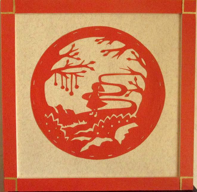 Chaperon rouge en papier découpé, paper art, Assilem décors, peintre en décor Bordeaux, décoration intérieure, peinture décorative
