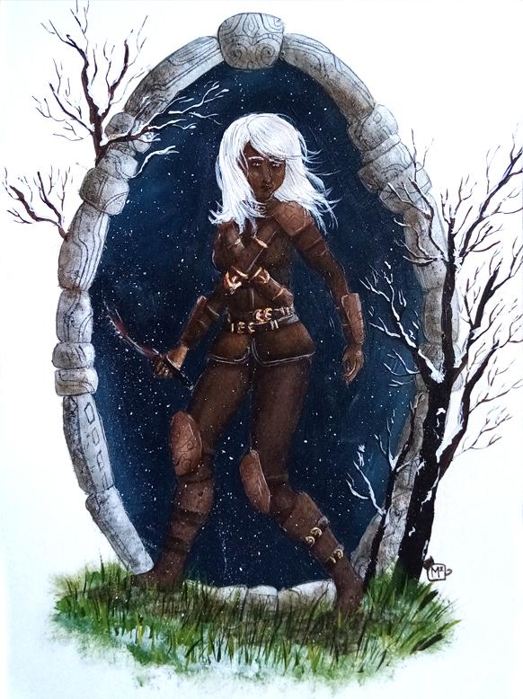 Illustration fanart Skyrim la dague, peinture acrylique. Assilem décors, peintre décorateur, peintre en décor à Bordeaux