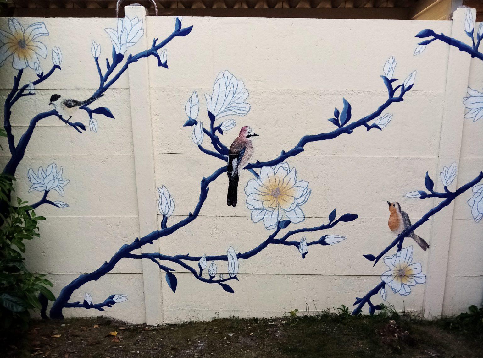 Fresque murale Oiseaux et Fleurs inspiration estampe japonaise. Assilem décors, peintre en décor Bordeaux, décoration intérieure, peinture décorative