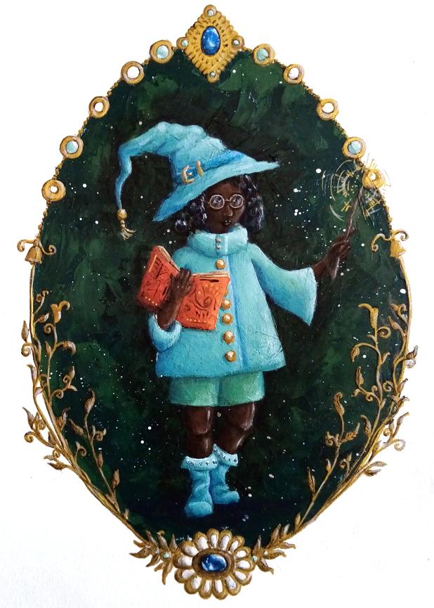 Illustration petit sorcière verte et bleue, peinture acrylique. Assilem décors, peintre décorateur, peintre en décor à Bordeaux