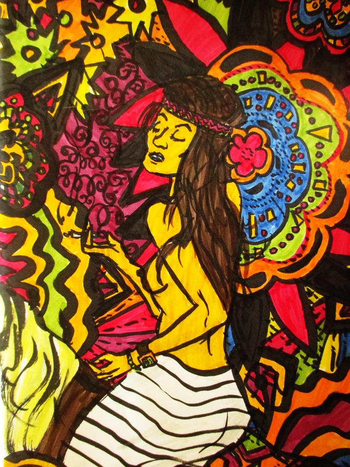 Illustration Femme à Woodstock, feutres, Assilem décors, peintre en décor Bordeaux, décoration intérieure, peintre décorateur