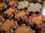 Fall cookies with royal icing. Drag a toothpick from the outside in to create the effect.