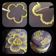 brush embroidery cake with yellow flowers