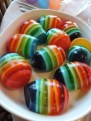 Easter egg jello with colorful rainbow layers
