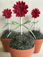 red flowers on cake pops in flower pots