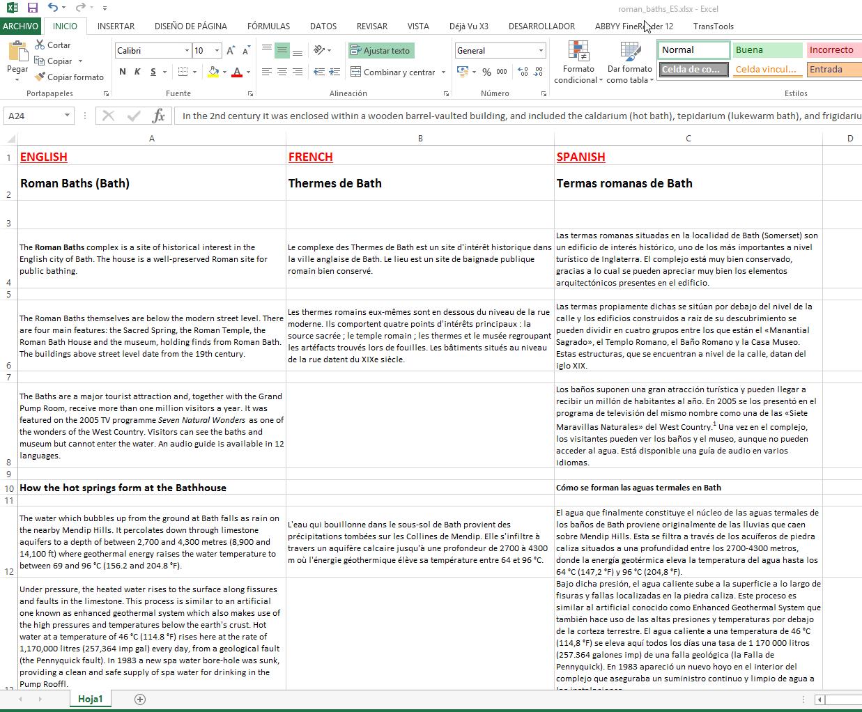 La hoja de Excel multilingüe de destino con nuestras traducciones