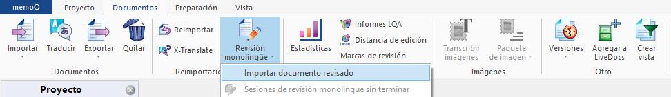 La función Importar documento revisado de memoQ permite actualizar los archivos del proyecto con los archivos traducidos con cambios