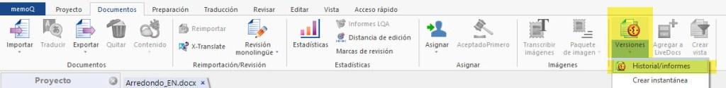 El historial de informes de memoQ permite comparar diferentes versiones de nuestra traducción