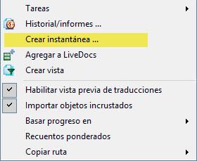 Accedemos a la función Crear instantánea haciendo clic con el botón secundario del ratón sobre un archivo.