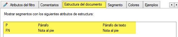 Pestaña Estructura del documento de los filtros avanzados de Studio