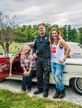 Joon, Nel Hoon, & local law posing with Shannon Hoon's legendary Galaxie at the Shannon Hoon & Tim Forkeotes Vigil & Vigilstock 2015 in Lafayette, Indiana