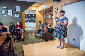 Iconoclast Poetry Open Mic Night at 10 Johnson Avenue Coffee in the Irvington Historic District of Indianapolis, Indiana on July 26, 2018