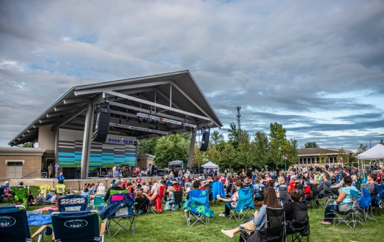 Fans enjoy the Nickel Plate District Amphitheater while waiting for Houndmouth in Fishers on August 24, 2018