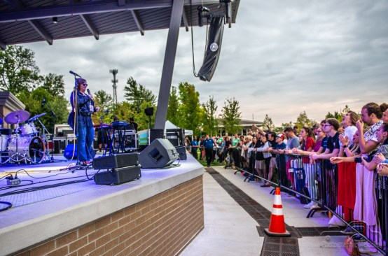 Laura Duncan from WTTS talks to fans before Houndmouth at the Nickel Plate District Amphitheater in Fishers on August 24, 2018