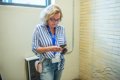 IndyStar's Amanda Kingsbury prepares for the preshow interview with Rick Springfield on opening day of the Indiana State Fair on Friday, August 3, 2018.