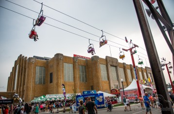 Fair goers enjoy the skylift at the Indiana State Fair on August 18, 2018