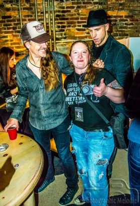 Melodie posing with Rogers Stevens and Brad Smith while covering the Blind Melon 2016 New Year's shows at the Lafayette Theater in Lafayette, Indiana