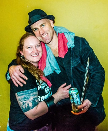 Melodie posing with Rogers Stevens while covering the Blind Melon 2016 New Year's shows at the Lafayette Theater in Lafayette, Indiana