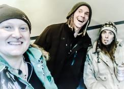 Melodie grabbing a selfie with Jeff Lageveen and William Pinnick while in studio with Spacewords in December 2016