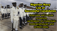 Nigerian Navy List of Successful Candidates