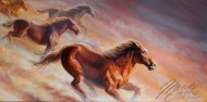 mustang horse, born free wild horses painting by Melody Owens