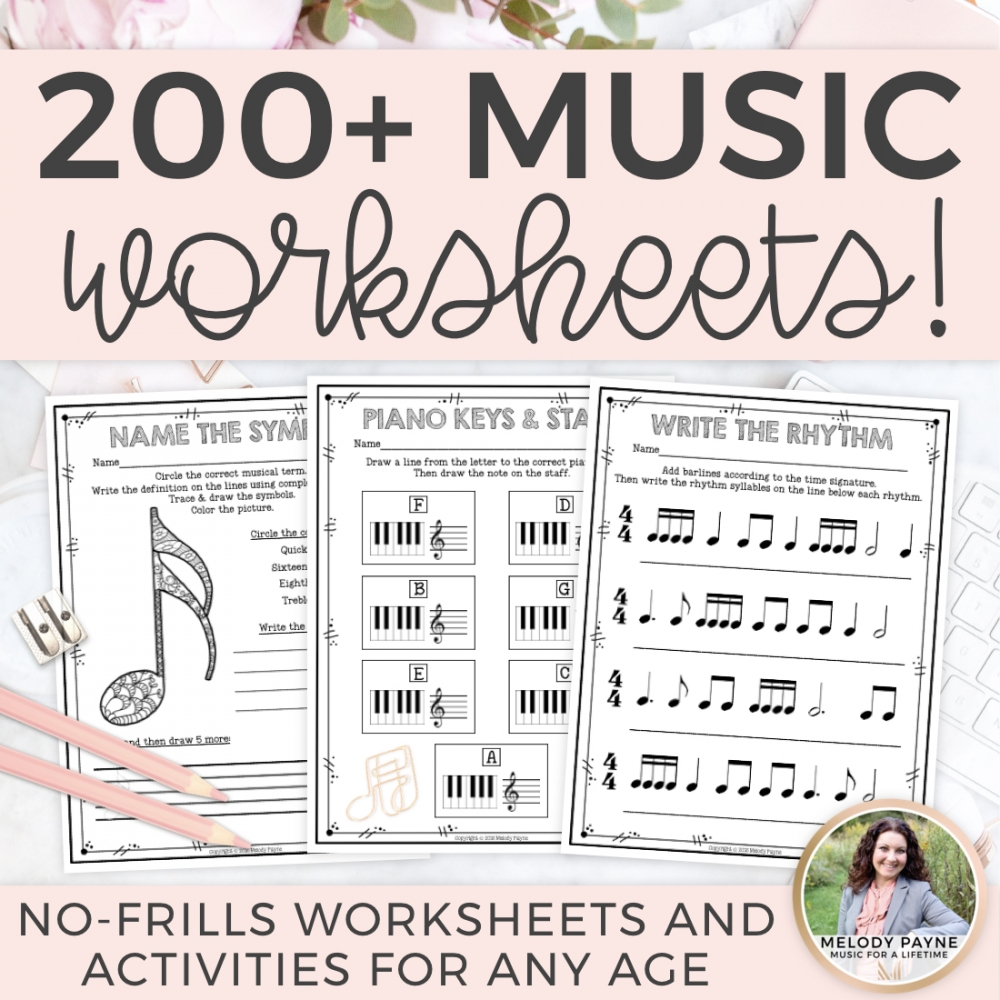 200 Music Worksheets Preview.001
