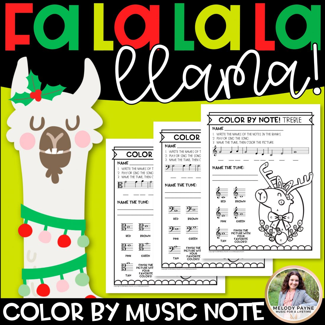Color By Music Notes Christmas Llama Music Worksheets