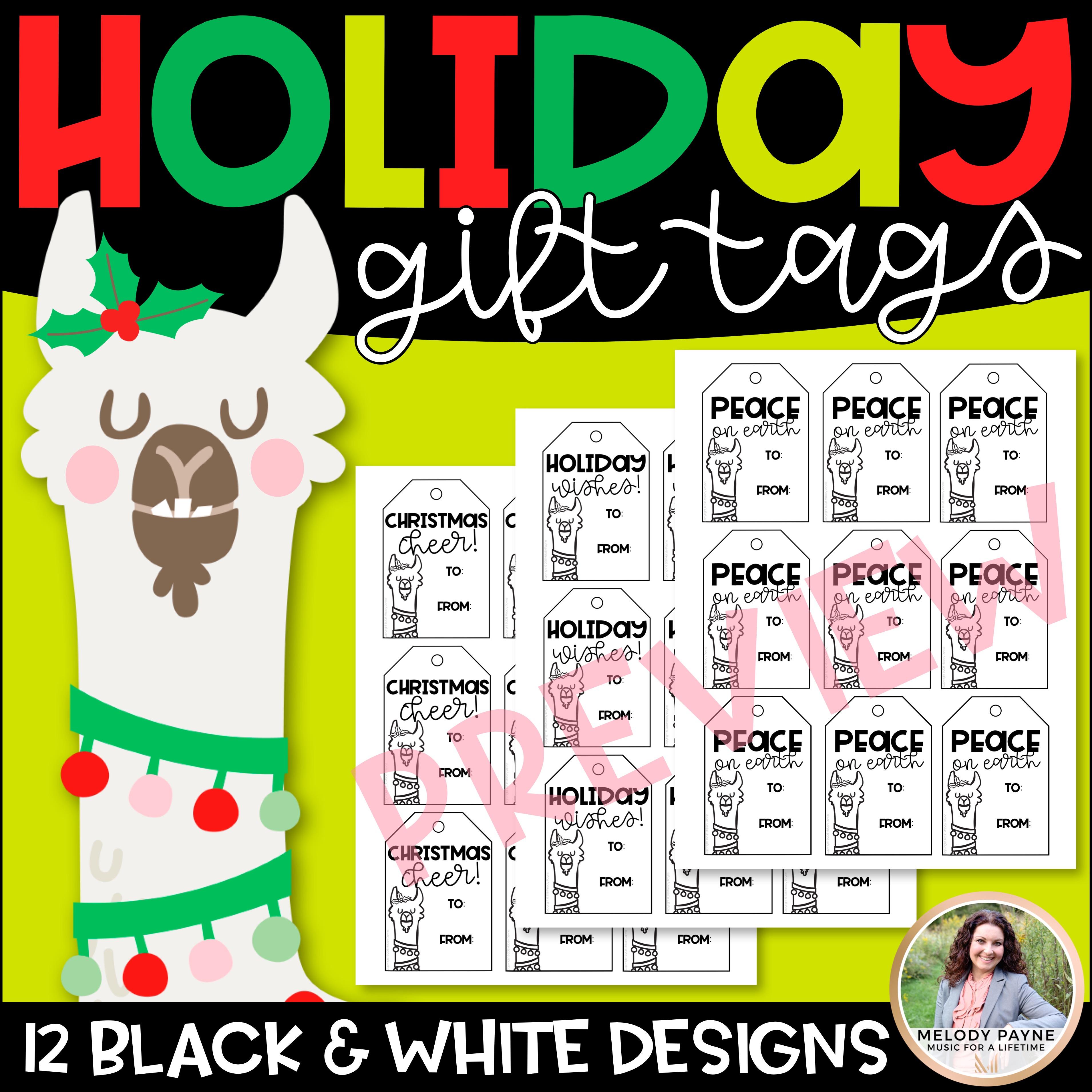 Christmas Gift Tags with Holiday Llamas: Fa-La-La-La-Llama! - Melody Payne | Music for a Lifetime