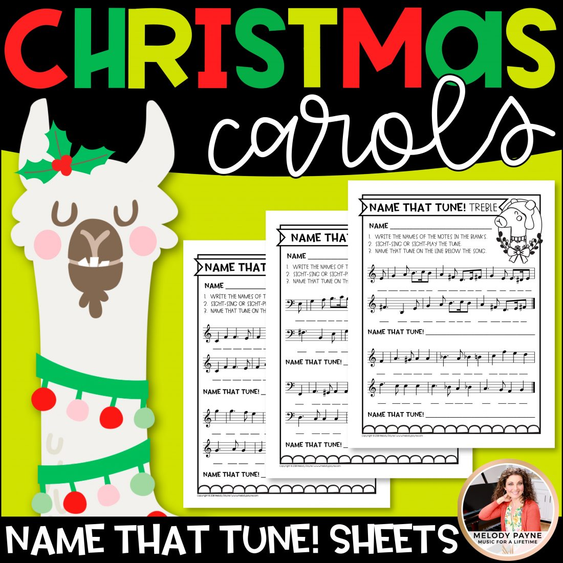 Name That Christmas Tune Music Worksheets Treble And