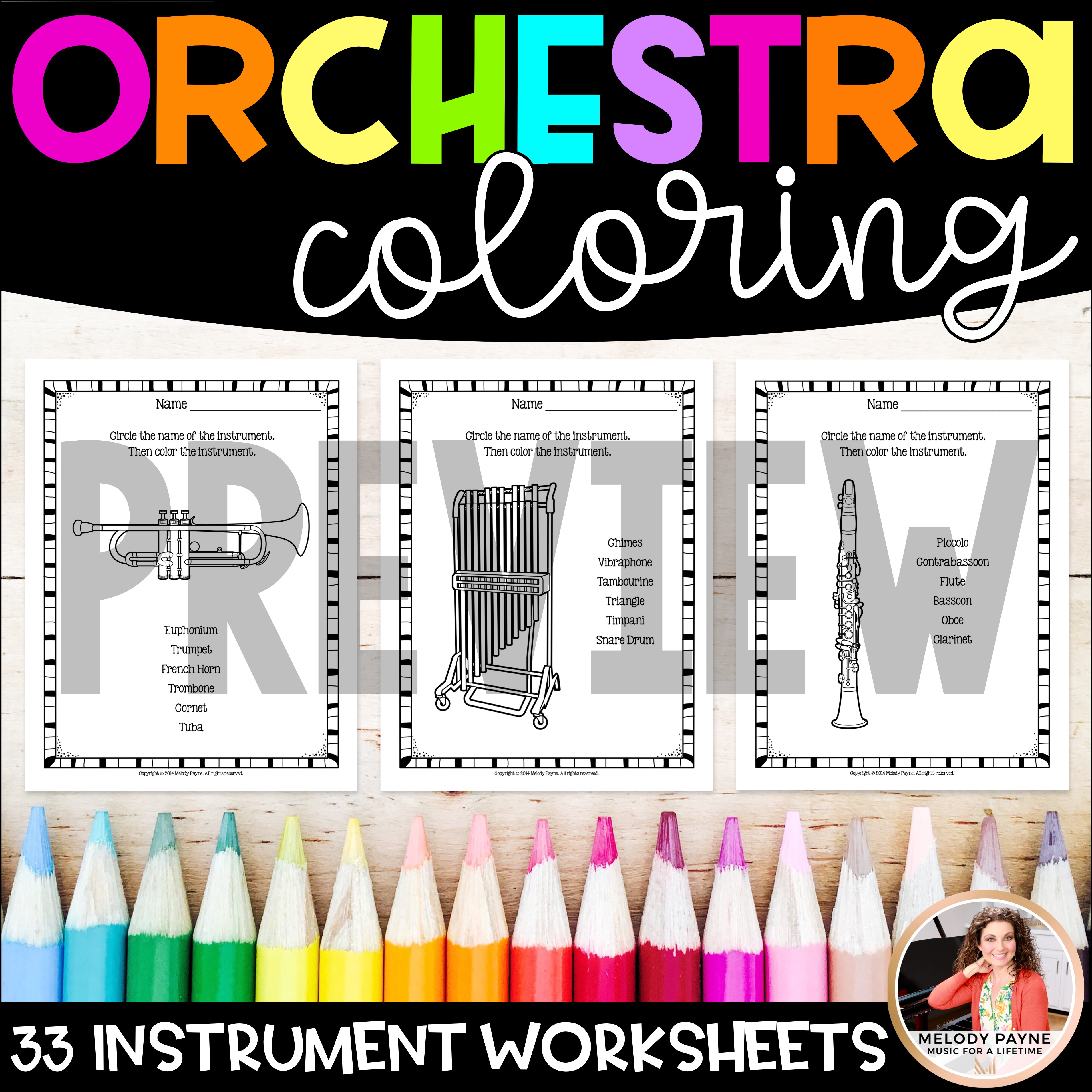 - Instrument Coloring Sheets & Worksheets: Orchestra - Melody Payne