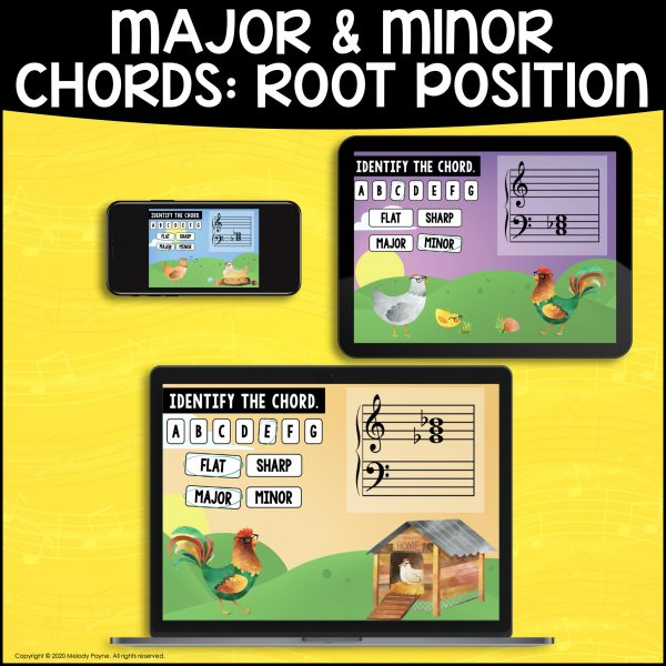 BOOM Cards: Major & Minor Chords on Grands Staff by Melody Payne