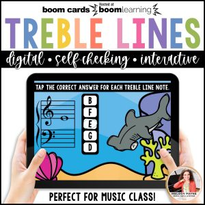 BOOM Cards: Treble Clef Line Notes 100 Note Challenge! by Melody Payne