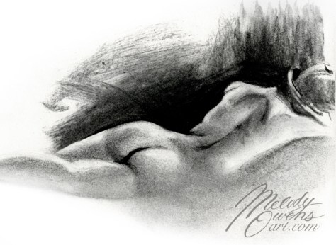 charcoal figure drawing by Melody Owens