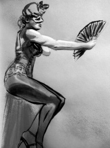 Burlesque Andrea - Figure watercolor painting by Melody Owens