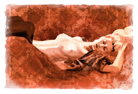 Vintage style nude reclining watercolor painting at Find Art Magazine's gallery by Melody Owens