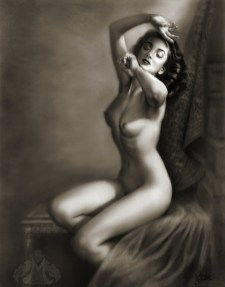 """Charcoal of """"Sitting in the Light"""" 11""""x14"""" $55 on watercolor paper >>"""
