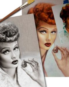 Lucille Ball in Progress - I love lucy painting by Melody Owens