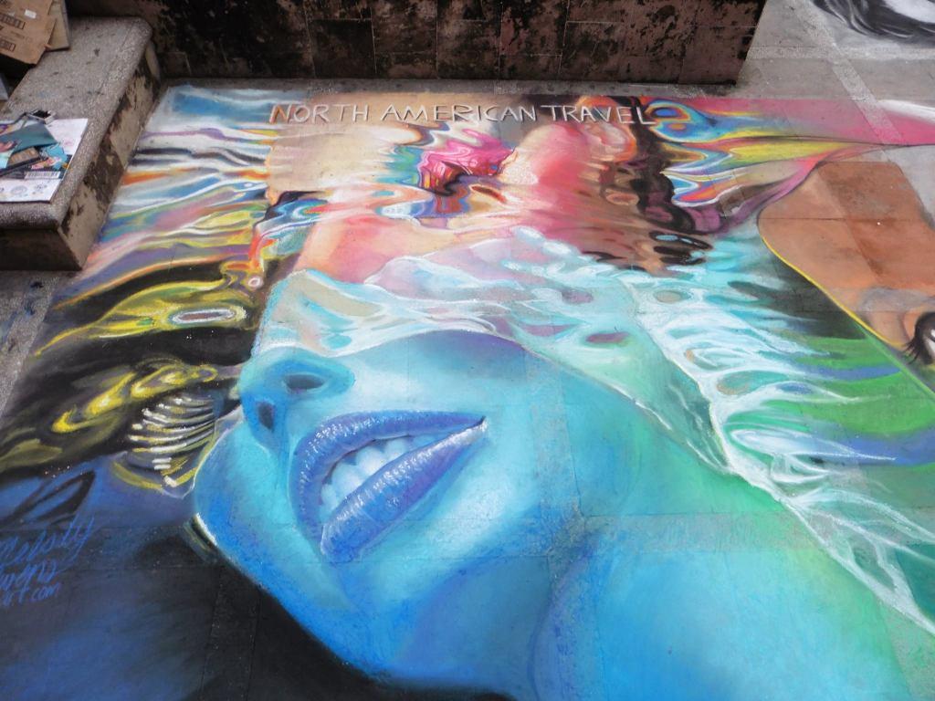 Puerto Vallarta street painting Sister City Imadonnari Mural project Melody Owens underwater art
