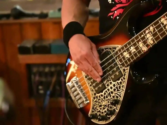 """Thanks to @red_hareimages for a great video clip of my main fretted 5-string bass, """"Sakura"""" that he shot during the last @werenogentlemen recording session."""