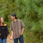 fun engagement session in nature in The Woodlands
