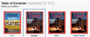 Three magazine covers. The one on the left, for the US edition, is about schools. The three on the left, for Europe, Asia, and the South Pacific, are all about Pakistan.