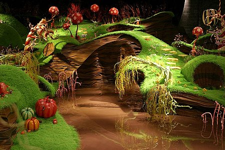 A still of the set from Willy Wonka and the Chocolate Factory, featuring a bridge over the chocolate river.
