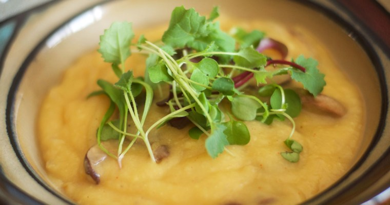 Recipe: golden rutabaga & parsnip soup with mushrooms & microgreens