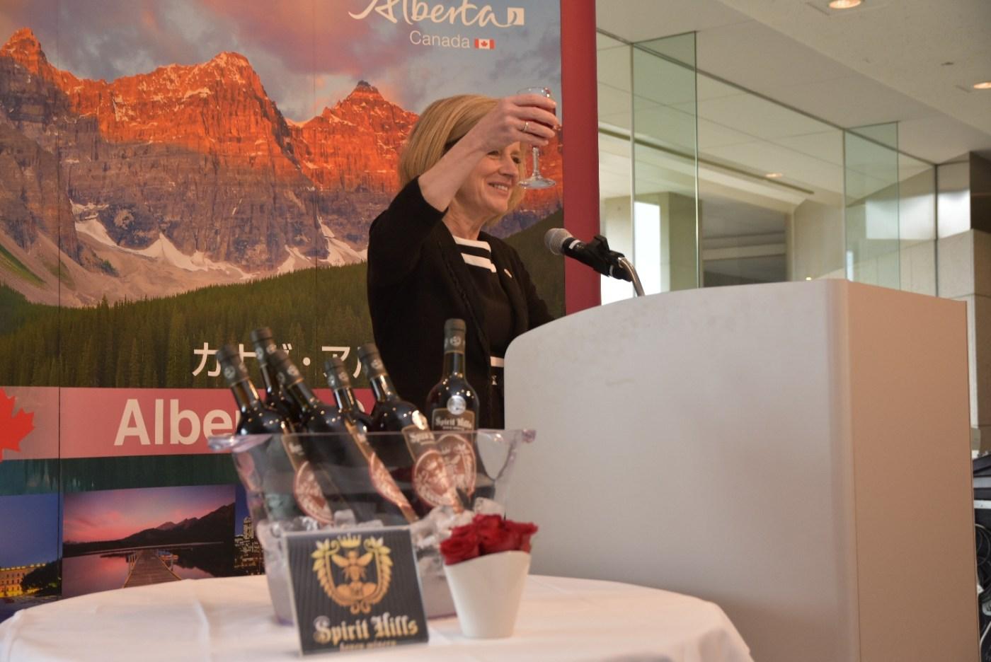 Rachel Notley toasts Japanese export of Spirit Hills Alberta honey wine