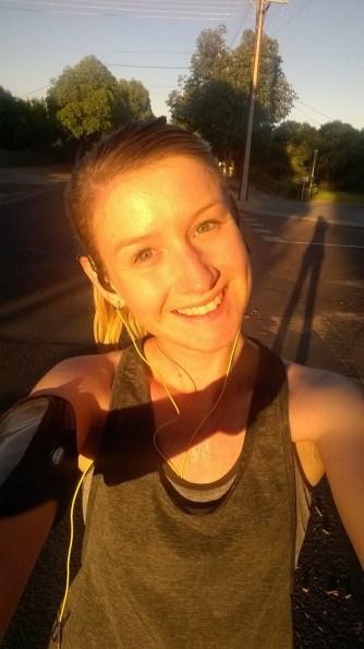 sunset of post-run selfie Mel