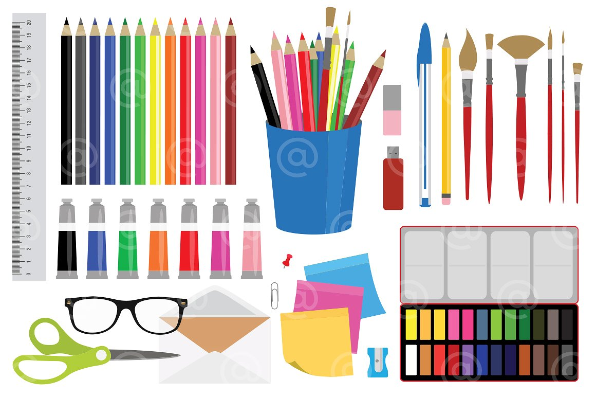 Office Stationery And Art Supplies Clipart Mels Brushes