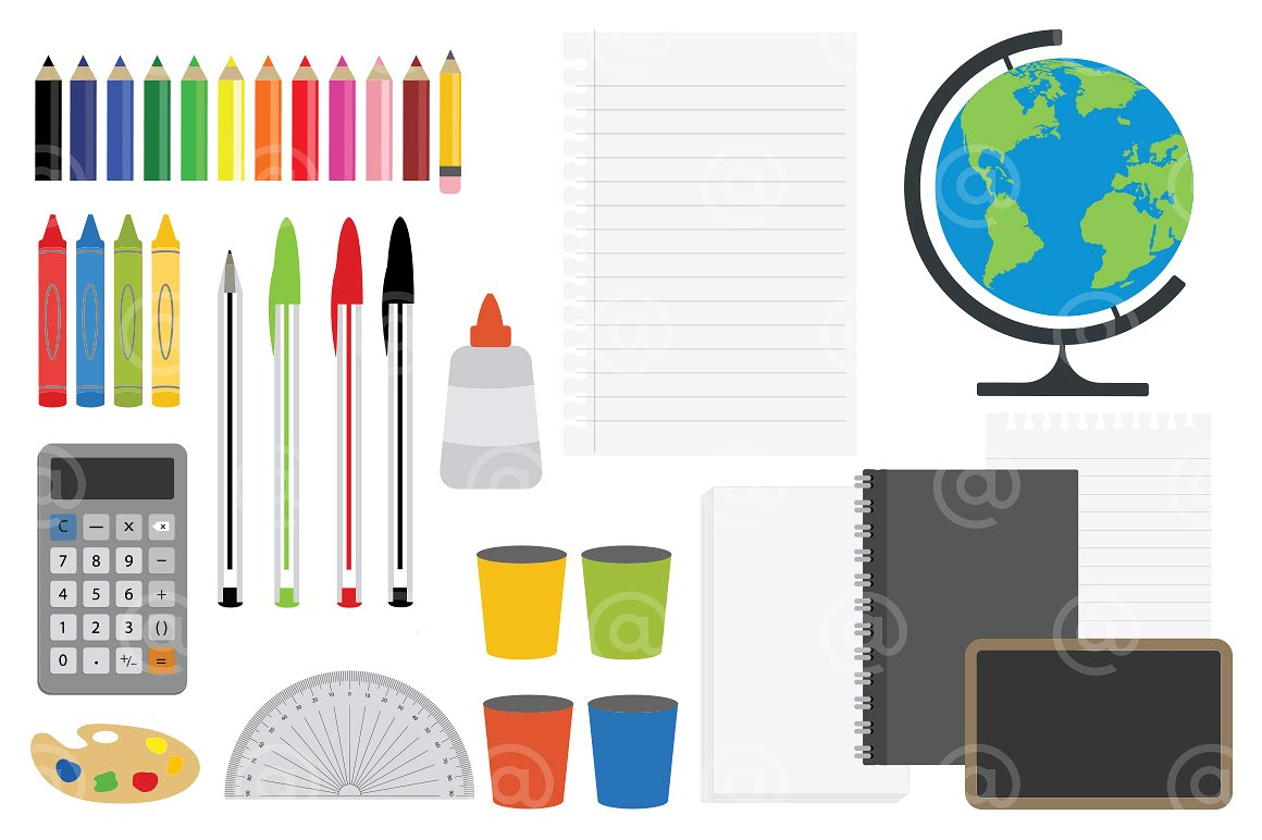 hight resolution of office stationery and art supplies clipart