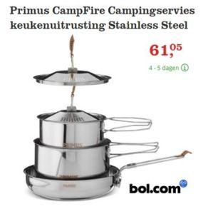Camping Servies. Pannen & Koekenpannen voor op de Camping. Super handig, passen zo in elkaar. Kan je je lekkere kampeer Recepten in maken.